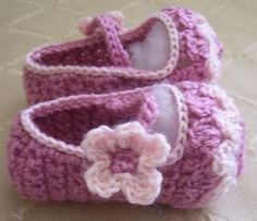 (4) Name: 'Crocheting : Flower Petal Mary Janes