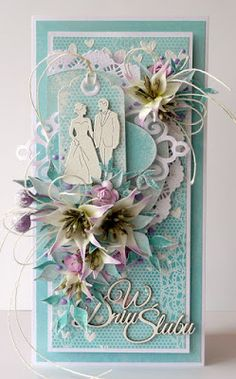 kartkulec, Wedding card with flowers 3d Cards, Paper Cards, Cute Cards, Wedding Cards Handmade, Shabby Chic Cards, Engagement Cards, Wedding Anniversary Cards, Flower Cards, Vintage Cards