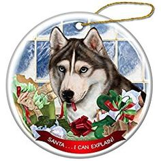 siberian husky christmas ornament grey and white siberian husky porcelain