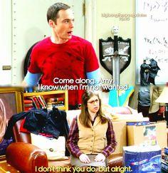 """Come along, Amy. I know when I'm not wanted"" - Sheldon and Amy #TheBigBangTheory (by bigbangtheory.updates)"