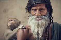 Sadhu and Monkey by Anton Jankovoy on 500px    India, Uttar Pradesh, Varanasi, Assi Ghat