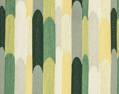 Green Yellow Upholstery - Abstract Emerald Green Fabric - Contemporary Design - Woven Upholstery - Furniture Fabric - Geometric Material