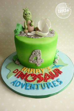 Baby dinosaur birthday cake based on CBeebies' Andy's Dinosaur Adventure programme. Dinosaur Birthday Cakes, 4th Birthday Cakes, Dinasour Cake, Birthday Party Drinks, Dino Cake, E 7, Celebration Cakes, Baby Shower Cakes, Themed Cakes