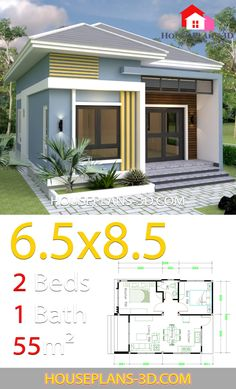 Small House Design With 2 Bedrooms Hip roof - House Plans Tiny House Plans Free, 3d House Plans, Model House Plan, House Layout Plans, House Layouts, The Plan, How To Plan, Bungalow Haus Design, Modern Bungalow House