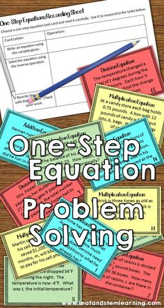 One-Step Equations Task Cards One-Step one-variable equation problem solving task cards. Use real world situations to write and solve one-step equations in your grade and grade math centers! 6th Grade Writing, Teaching 6th Grade, 7th Grade Math, Teaching Math, Maths, Sixth Grade, Teaching Tools, Teaching Ideas, Math Classroom