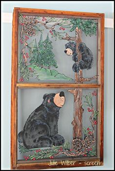 Artwork Painted Window Screens, Window Pane Art, Painted Doors, Old Window Projects, Window Ideas, Rustic Crafts, Paint And Sip, Frame Crafts, Stuffed Animal Patterns