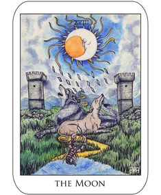 XVIIILA LUNE#TheMoon #Tarot #18 #drawing #fantasy #character #illustration #instaart #instaartist #cgart #painting #watercolor #engraving #etching #medival #artwork #doodle #firstpostof2018 #moon #waningmoon #wolf #dog #tower #crab #lobster #picses #redraw #dt