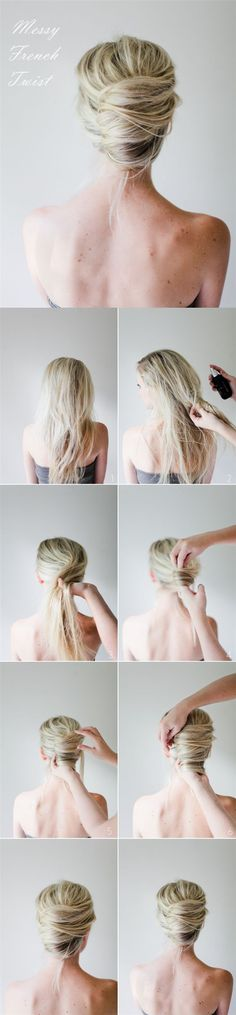 Step By Step: Messy French Twist - very cute, but I have a feeling it'd be an epic fail on me