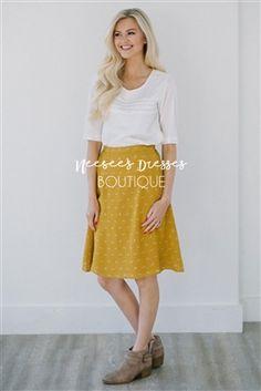 Mustard Raccoon Skirt Modest Skirt for Church, Church Dresses, dresses for church, modest bridesmaids dresses, trendy modest dresses, modest womens clothing, affordable boutique dresses, cute modest dresses, mikarose, modest bridesmaids dresses