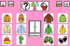 """""""Tablero de comunicación: Ropa para el frío"""". Recopilación de diferentes tableros de comunicación de 12 casillas, organizados por necesidades básicas y centros de interés. Los tableros pueden imprimirse tal como aparecen en los documentos o bien se puede modificar el contenido, la forma, el color, etc., para adaptarlos a las características individuales de cada usuario. Pueden utilizarse también para trabajar distintos repertorios de vocabulario agrupado por temas o categorías. Visual Aids, Task Boxes, Spanish Classroom, Art For Kids, Aurora Sleeping Beauty, Language, Comics, Clothes, Chore Charts"""