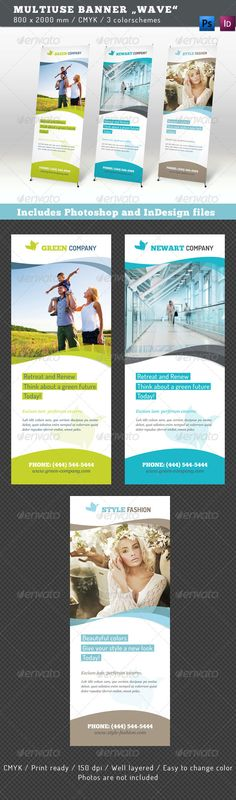 "Buy Multiuse Roll-up Banner Wave by corrella on GraphicRiver. Get the bundle! Multiuse Banner ""Wave"" This templates for a stand display, available in 3 different colorschemes. Rollup Display, Display Ads, Rollup Design, Standing Banner Design, Pop Up Banner, Green Companies, Banner Stands, Cool Business Cards, Grafik Design"