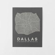 Native Maps, Dallas, White + Gray