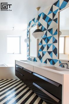 Barbara Bestor Defines Modern Elegance with Granada Tile's Santander and Maldon Tiles  This assertively Modern bathroom by Bestor Architecture is striking and beautiful with its strong black and white diagonal floor (Granada Tile's Santander cement tile pattern) and it's playful wall behind the sink with multiple combinations of color in the Maldon tile.  Designer: Bestor Architecture   Photographer: Laure Joliet Concrete Tiles, Cement, Geometric Patterns, Tile Patterns, Encaustic Tile, Linear Pattern, Other Rooms, Granada, Interior Design Inspiration