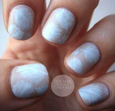 Nails: pretty neutral leaf print nails
