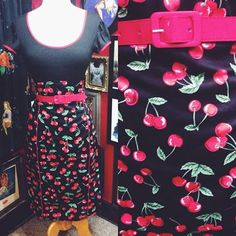 Spice up your office look with an outfit that easily transitions to an evening out! #blamebetty #cherries #pencilskirt
