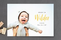 Simple Hello Birth Announcement Postcards by Olivia Raufman at minted.com