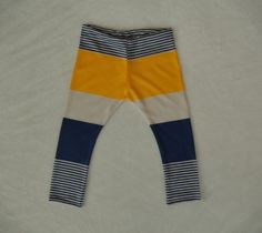 Navy Yellow and White Stripe Baby Leggings / by SimpleSawyer, $12.00