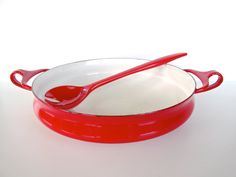 Dansk Kobenstyle Small Red Enamel Paella Pan, Dansk Designs France IHQ by HerVintageCrush on Etsy