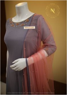 Ash and peach combo with handwork gown & Kids Frock Nakshatra Kids Salwar Designs, Kurti Designs Party Wear, Saree Blouse Designs, Stylish Dress Designs, Dress Neck Designs, Indian Designer Outfits, Designer Dresses, Kurti Embroidery Design, Embroidery Dress