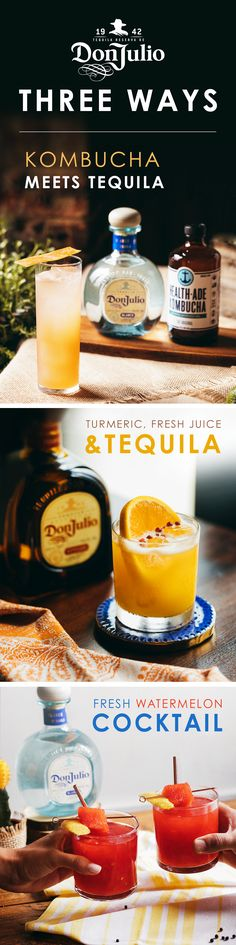 Made with 100% Blue Agave Plant and gluten-free, Don Julio adds a bright taste to any fresh cocktail. Whether it's with kombucha, turmeric or watermelon juice, our luxury tequila isn't afraid to mix things up. Keep these speciality cocktails in mind when you're hosting friends, or relaxing at home. Click on the pin for more delicious Don Julio cocktail recipes!