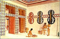 Artist's impression of the interior of the double axes room at the Palace of Knossos