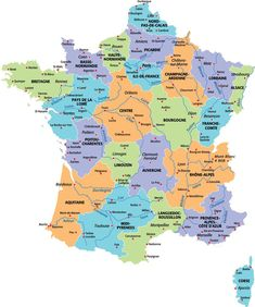 21 anciennes régions + principales villes