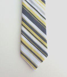 Boys Skinny Tie- White, Grey and Citron Yellow Striped- Sizes newborn-7 years. $18.00, via Etsy.