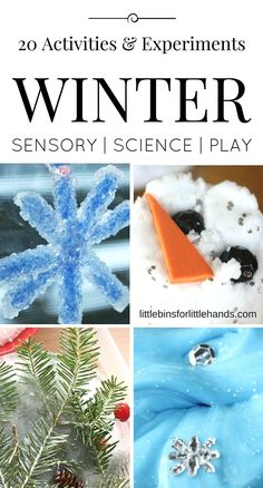 20 Winter activities and Winter science experiments for kids. Ice melting, making slime, exploring goop, and more with hands-on Winter themed early learning and play activities for indoors.