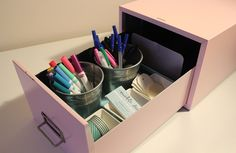 Old File Drawer Becomes New Desktop Organizer in this fun and easy DIY!