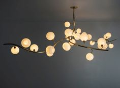 Jeff Zimmerman brass and blown-glass Vine chandelier, price on request, from R & Company Modern Lighting Design, Home Lighting, Ceiling Lights Living Room, Aesthetic Room Decor, Family Room Lighting, Sphere Pendant Light, Living Room Pendant, Chandelier Decor, Modern Dining Room Light Fixtures