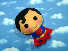 Superman felt plush doll in a kawaii style - use as pin, keychain, magnet or Christmas ornament ( your choice ). $13.90, via Etsy.