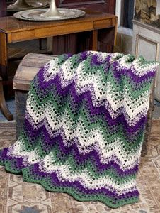 Woodland Waves Throw Pattern.  Free from Caron