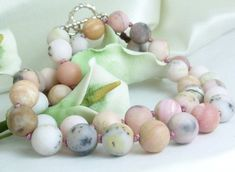 Pink Opal Natural Gemstones Round Beaded Necklace Matte Finish #ButterflysPin #jewelry #gemstones