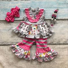 baby girls  spring outfit girls floral clothing children new arrival hot pink polka dot with ruffle capri outfits with accessori