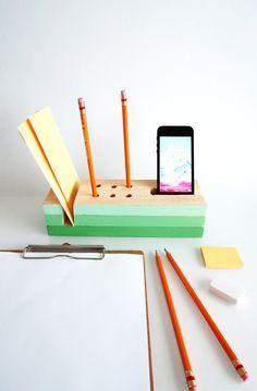 Make a wooden desk organizer - DIY Office - Ohoh blog