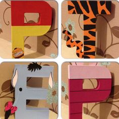 Winnie the Pooh inspired character wall letters. www.facebook.com/missylissyletters