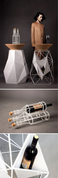 Bar counter inspired by a wine bottle. Has a cork top for your wine glass and the base to store wine or ice: Read More: http://www.yankodesign.com/2016/11/21/positive-and-negative-can-play-well-together/