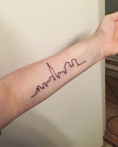 Tattoo New York City skyline New York Tattoo, Nyc Tattoo, City Tattoo, Tattoo Ink, Nyc Skyline Tattoo, Future Tattoos, Tattos, Tattoo Inspiration, Small Tattoos