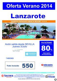 Lanzarote, 80% Dtp.Acompañante, Hotel Sandos Papagayo Beach, salida 3 Julio desde Sevilla ultimo minuto - http://zocotours.com/lanzarote-80-dtp-acompanante-hotel-sandos-papagayo-beach-salida-3-julio-desde-sevilla-ultimo-minuto/