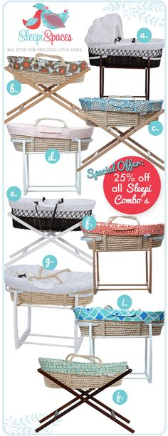 Babies Sleeping In Style: *EXCLUSIVE FLASH SALE* 25% Off Designer Moses Baskets Combos By Sleepi Spaces