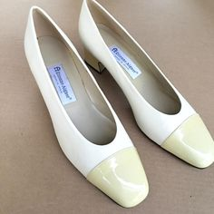 Etienne Aigner Two Toned Off White Cream Patent Leather Pumps Shoes US Womens 10 #EitenneAigner #PumpsClassics #Any