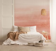 Peach Pink Ombre Removable Wallpaper Peel and Stick Wallpaper Self-Adhesive  Repositionable Art110