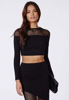 Caladay Fishnet Top Black - Missguided