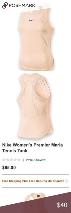 Nike x Maria Sharpova Premier Tennis Tank NEW WITH TAGS! Super cute baby pink color, selling in stores now for $65 perfect for tennis or working out in general since it is dri fit ! Fits L-XL The Nike Premier Maria women's tank is a lightweight, great looking tank made with Maria Sharapova in mind. Performance tank has mesh inserts and a perforated back panel for ultimate breathability, and bonded seams offer added comfort.  Body: Dri-FIT 85% polyester/15% spandex plain jersey Mesh: 75%…