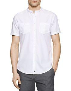 Calvin Klein Band Collar Cotton Shirt Men's White Medium