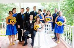 wedding party! blue dresses, yellow shoes, sunflowers :)