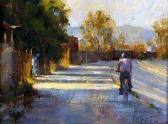 'Afternoon Cyclist, LA Wash' by Jennifer McChristian Oil ~ 8 x 10