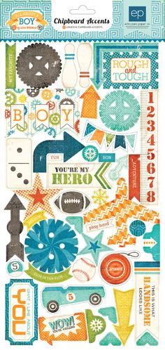 Chipboard Accents - All about a boy - Echo Park