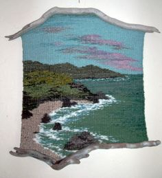 Thalia Truesdell is a weaver in Southern Oregon. She has been weaving nature scenes in driftwood frames for over 35 years. Weaving Textiles, Weaving Art, Tapestry Weaving, Loom Weaving, Hand Weaving, Thread Painting, Fabric Painting, Fabric Art, Art Textile