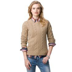 Tommy Hilfiger FW12 Odette Cotton Cashmere Sweater #cableknit #cashmere